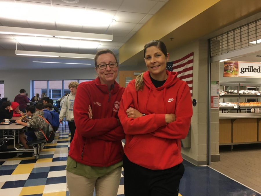 Mrs. Mattingly and Mrs. Kloeppel stand by each other as the lunch supervisors