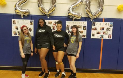 Seniors (from left to right) Marisa Ackman, Mariah Stewart, Mckenzie Mitchell, and Chloe Porter pose after senior night