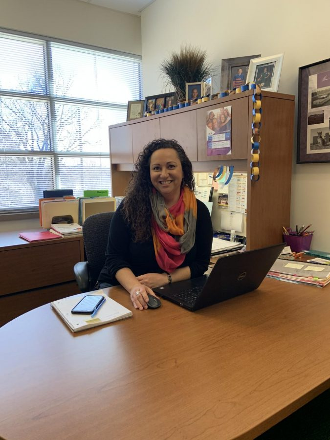 Guidance counselor Ginger Steinhauff works in her office